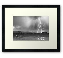 Lightning Striking Longs Peak Foothills 6BW Framed Print