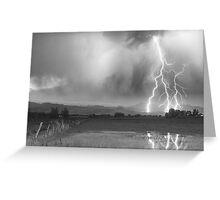 Lightning Striking Longs Peak Foothills 6BW Greeting Card