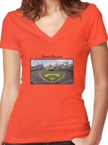 Detroit Baseball Women's Fitted V-Neck T-Shirt