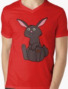 Sitting Black Rabbit Mens V-Neck T-Shirt