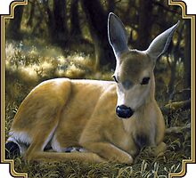 A Quiet Place - Mule Deer Painting - by Crista Forest by csforest