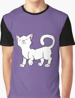 Happy White Kitten Graphic T-Shirt