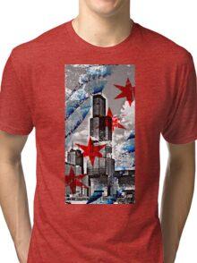 Chicago Flag Skyline Tower Tri-blend T-Shirt