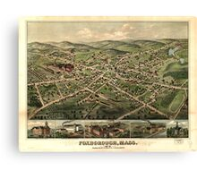Panoramic Maps Foxborough Mass 1879 Canvas Print