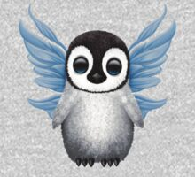 Cute Baby Penguin with Blue Fairy Wings Kids Tee