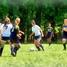 Girls Playing Soccer by Susan Savad