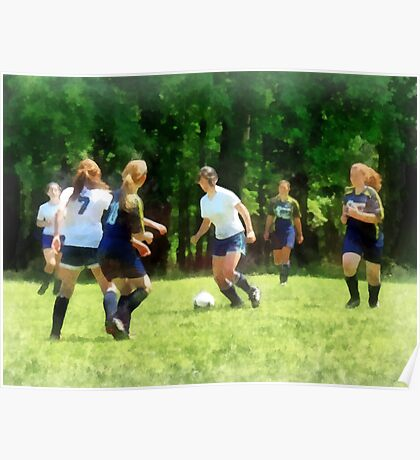 Girls Playing Soccer Poster