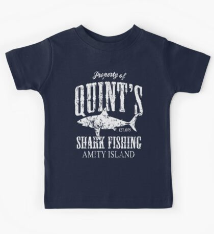 Quints Shark Fishing Amity Island Kids Tee