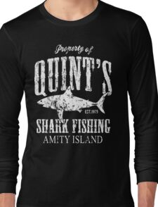 Quints Shark Fishing Amity Island Long Sleeve T-Shirt