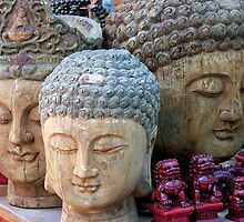 Three Buddha Heads, Stanley Market, Hong Kong by KUJO-Photo