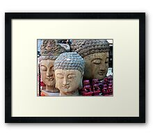 Three Buddha Heads, Stanley Market, Hong Kong Framed Print