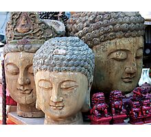 Three Buddha Heads, Stanley Market, Hong Kong Photographic Print