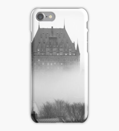 A Foggy Morning engulfs Chateau Frontenac Black and White iPhone Case/Skin
