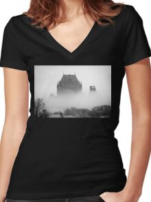 A Foggy Morning engulfs Chateau Frontenac Black and White Women's Fitted V-Neck T-Shirt