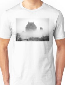 A Foggy Morning engulfs Chateau Frontenac Black and White Unisex T-Shirt