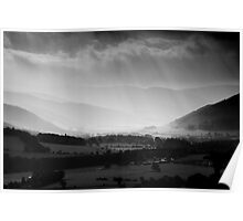 Sunlight Through the Clouds, Taken from Glentress, Scottish Borders Poster