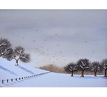 Rural snow scene landscape art for christmas  Photographic Print