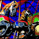 Wildly Galloping Carousel Horseys  by Jean Gregory  Evans