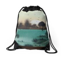 scenic landscape sunset over woodland plains art Drawstring Bag