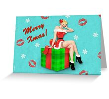 Merry Xmas! Retro Pinup Christmas Greeting Card