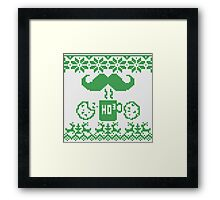 Santa's Stache Over Green Midnight Snack Knit Style Framed Print