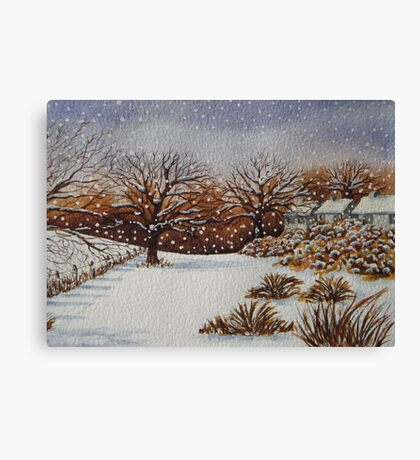 snow scene with snow covered trees and cottages painting  Canvas Print