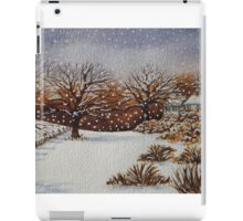 snow scene with snow covered trees and cottages painting  iPad Case/Skin