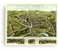 Panoramic Maps Wolcottville Conn Canvas Print