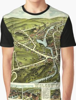 Panoramic Maps Wolcottville Conn Graphic T-Shirt