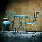 Table &amp; Chairs in Blue by Lucinda Walter