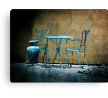 Table & Chairs in Blue Canvas Print