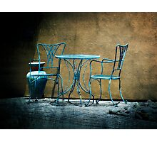 Table & Chairs in Blue Photographic Print