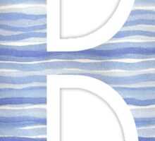 Letter F Blue Watercolor Stripes Monogram Initial Sticker