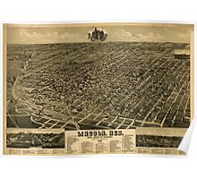 Panoramic Maps Lincoln Neb State capitol of Nebraska county seat of Lancaster Co 1889 Poster