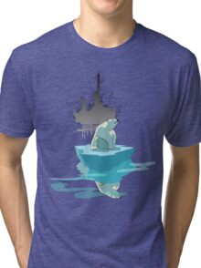 global warming illustration / print : NEED MORE ICE NOT OIL Tri-blend T-Shirt