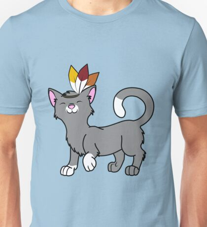 Thanksgiving Gray Cat with Indian Headdress Unisex T-Shirt