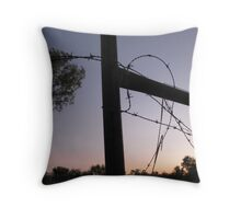 Ellendale fence at sunset Throw Pillow