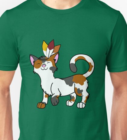 Thanksgiving Calico Cat with Indian Headdress Unisex T-Shirt