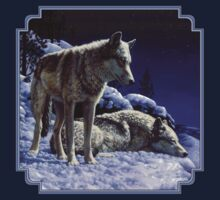 Night Watch - Wolves Oil Painting Baby Tee