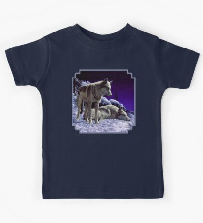 Night Watch - Wolves Oil Painting Kids Tee