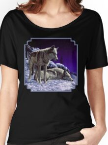 Night Watch - Wolves Oil Painting Women's Relaxed Fit T-Shirt