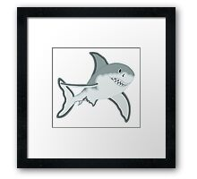 Gray Great White Shark Cartoon Fanciful Sea Creature Framed Print