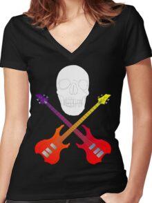 guitar cross bones  Women's Fitted V-Neck T-Shirt