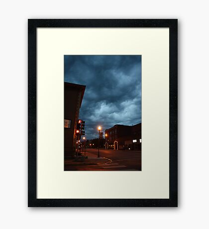 Small town storm coming Framed Print