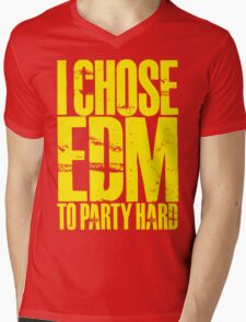 I Chose EDM To Party Hard (yellow) Mens V-Neck T-Shirt