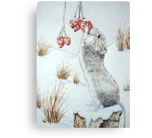 Cute mouse and red berries snow scene wildlife art   Canvas Print