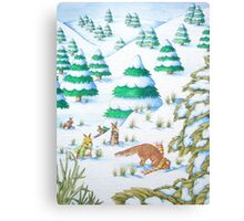 cute fox and rabbits christmas snow scene Canvas Print