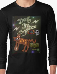 Dog In Space T-shirt Design Long Sleeve T-Shirt