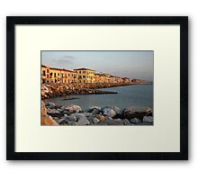 Marina di Pisa sunset view of the town Framed Print