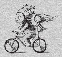 Girl and a monster on a bike Kids Tee